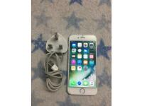 Apple I phone 6 silver 16gb Locked on Vodafone slight crack check picture