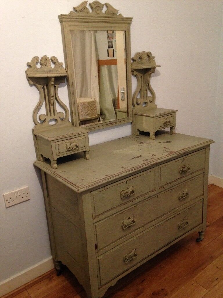 Shabby Chic Vintage Dressing Table Chests Drawers Br Roller Feet Beveled Mirror
