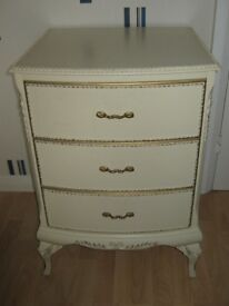 Bedside 3 Drawer cabinet/Chest of Drawers - French Louis Style - IMMACULATE