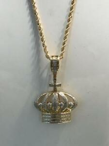 10kt Yellow Gold 0.40ct Diamond King Crown Pendant Set With 24 inch 2.5mm Rope chain