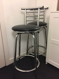 Black Silver Bar Stools - Very Good Condition