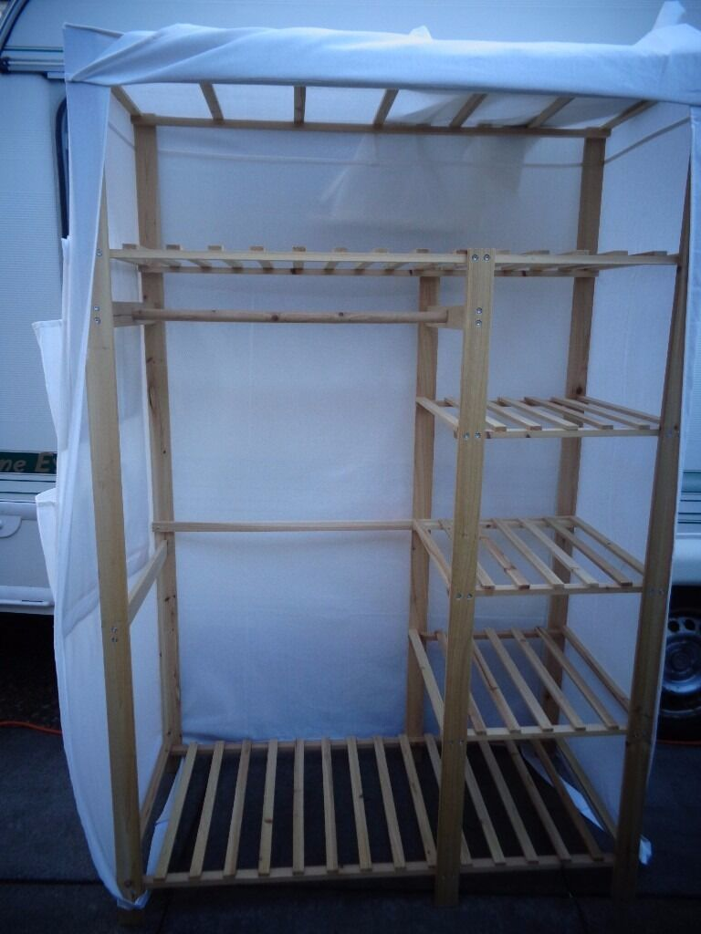 Canvas Storage Boxes For Wardrobes: IKEA WOOD / CANVAS WARDROBE BASIC STORAGE UNIT GOOD