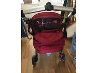 Child's pushchair. Bebecare Loola. Red and Black. Good condiition. Lots of accessories.