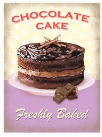 CHRISTMAS GIFT ? METAL WALL SIGN PICTURE CHOC CAKE BAKING KITCHEN COST £14.99 NORMALLY