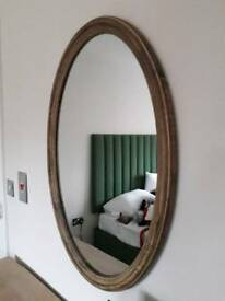 Brown Wooden Oval Mirror