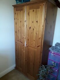 Solid Pine 2 Door Wardrobe