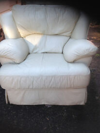 large cream leather armchair delivery available