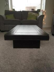 Low brown faux leather coffee table