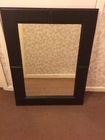 Large dark brown leather look mirror