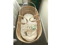 Moses Basket with Mattress, Bedding & Stand
