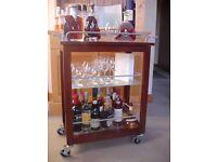 Tropical hardwood 3-level Drinks trolley