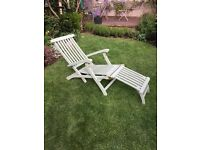 Garden steamer chairs.