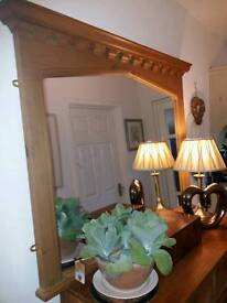 Large Quality Gothic Solid Pine Overmantle Mirror