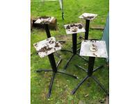 Set of 5 metal table bases garden pub decoration