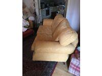 Sofa - 2 seater gold/lemon colour