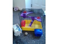 Hamster cage two tier and accessories