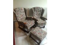 COTTAGE SUITE COMPRISING OF (4 ITEMS) 2 SEATER SETTEE, ROCKING CHAIR AND ARMCHAIR, LARGE FOOTSTALL