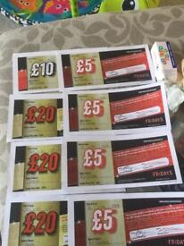 £90 worth of Tgi Fridays food and drink vouchers