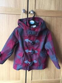 Brand new with tag pumpkin patch unisex check duffel coat age 2