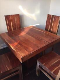Wooden square dining table and 4 chairs