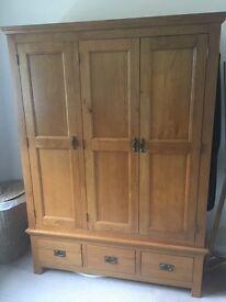 Solid Oak 3 door Wardrobe £250