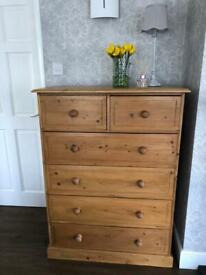 Lovely Tall Solid Pine 6 Drawer Dovetailed Chest of Drawers