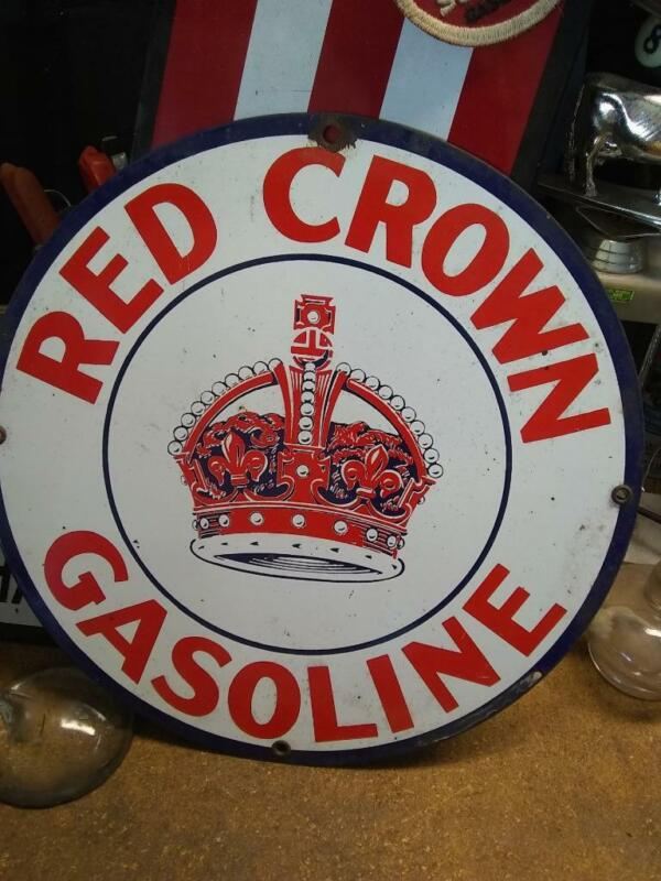 """Vintage PORCELAIN RED CROWN GASOLINE Metal Advertising Sign11 1/4"""" PERMANENT RIV"""
