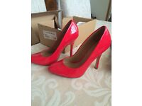 Ladies soze 4 red patent heels. Purchased from SCHUH. Brand new, bought at £60,, accept £30
