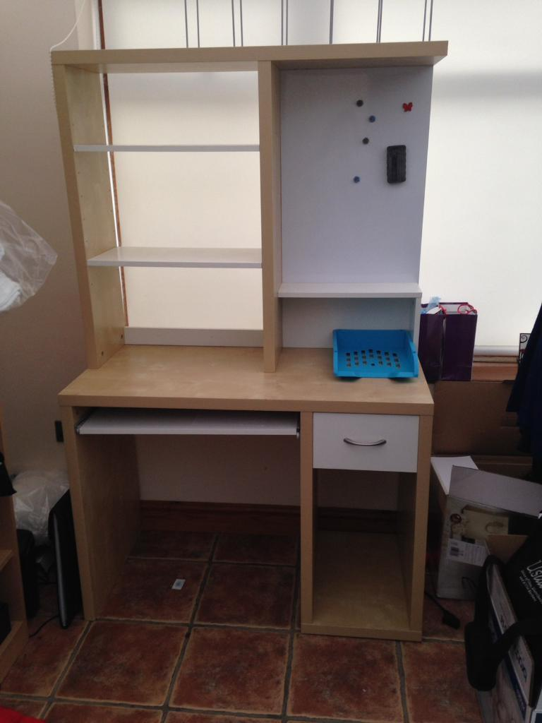 Craft Station Desk With Extra Shelving And Magnetic White Biard