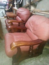 2 redish armchairs