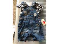 Dungaree short & T-shirt 3-6 months brand new with tags ASDA GEORGE