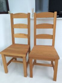 Two Immaculate Solid Oak Wooden Dining Room Chairs