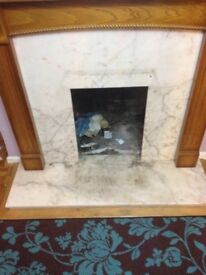 Fireplace -wooden surround andmarble hearth