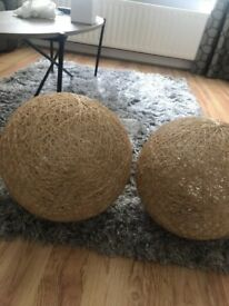 2 Large Abaca shades, like new