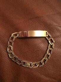 Gents 9ct gold bark effect ID bracelet