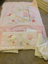 Next girls nursery / cot bedding