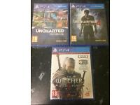 Uncharted 4, Uncharted The Nathan Drake Collection and The Witcher 3