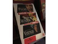 Hitchcock video collection (Psycho, Rear Window, Vertigo)