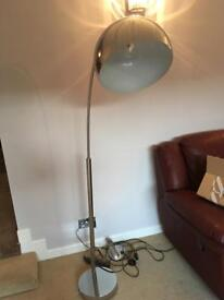 Large silver overhanging lamp