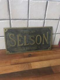 Vintage Heavy Metal Selson London Plaque