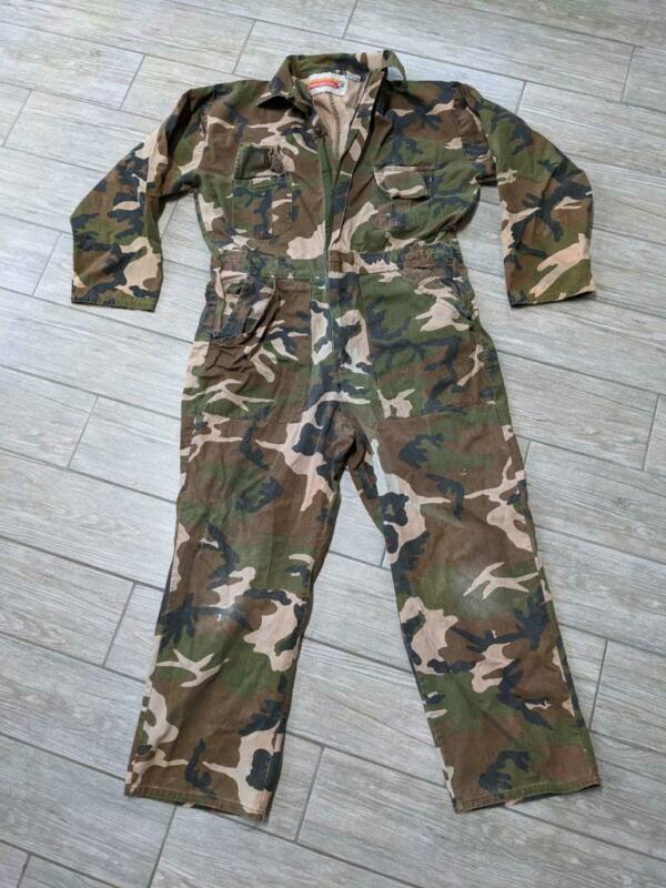 WINCHESTER vintage 1pc SUIT coveralls CAMOUFLAGE hunting M woodland