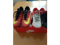Boys Nike Mercurial football boots & Puma Evo Speed Trainers, both size 4
