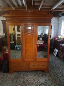 Fine Arts & Crafts satin walnut & Burr elm twin Mirrored double wardrobe