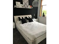 King Size White Leather Bed with Headboard and Matteress