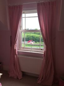 Laura Ashley girls pink bed throw with curtains, lamp, lamp shade and rug