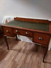 Vintage Solid Wooden Leather Top Desk
