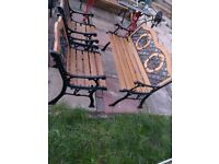Cast iron garden bench and chair set. 1 bench, 2 chairs, table garden furniture