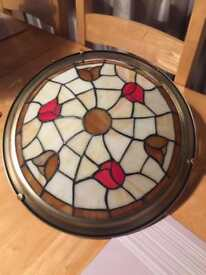 Art Deco Glass and Brass Light Fitting