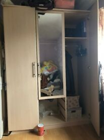 large oak mirror 3 door bedroom wardrobe faulty - good wood