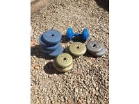 Dump bell and a selection of weights